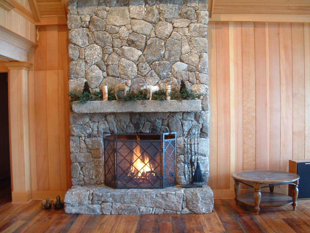 native stone dry look no visible mortar fireplace